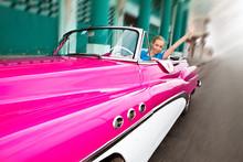 The Beautiful Woman At Wheel Old American Retro Car.Cuba