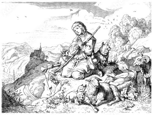 Fotografie, Obraz  Trad. Sheperd - Berger - Schäfer_1879
