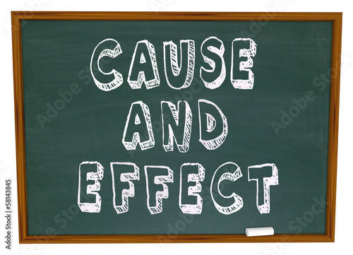 Fotografie, Obraz  Cause and Effect Chalk Board Experiment Science Learning