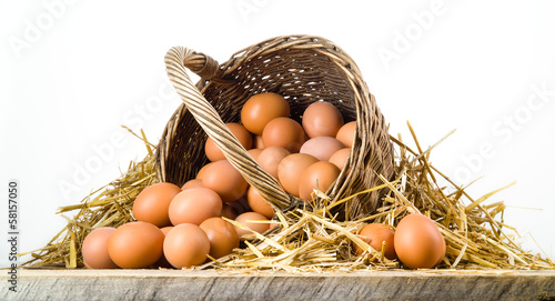 Fotografie, Obraz  Chicken eggs in basket isolated. Organic food