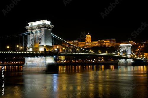 The Szechenyi Chain Bridge in Budapest, Hungary
