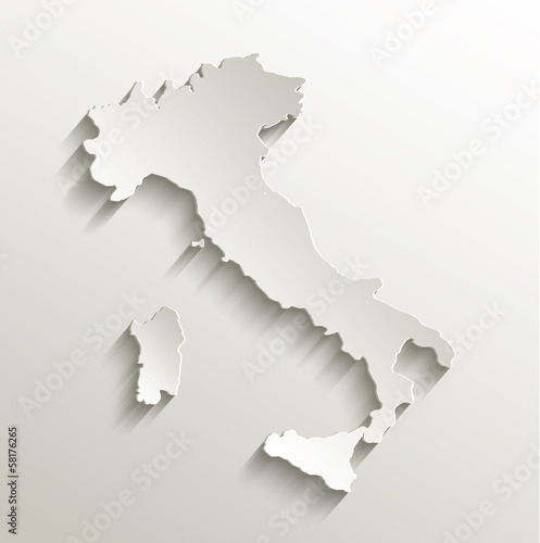 Italy map card paper 3D natural Canvas Print