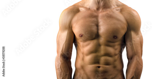 Fotografía  Close up on perfect abs. Strong bodybuilder with six pack