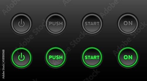 Fotografía  Neon buttons vector icon set on black bacground