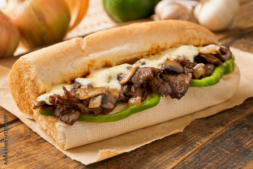 Fotobehang Snack Steak and Cheese Sub