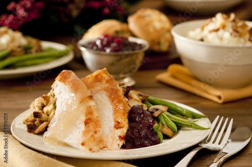 Fotografie, Obraz  Traditional thanksgiving turkey dinner