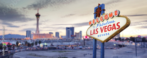 Spoed Foto op Canvas Las Vegas Welcome to Las Vegas Sign