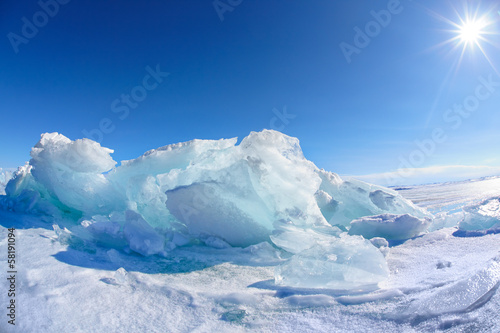 Deurstickers Poolcirkel Winter Baikal lake