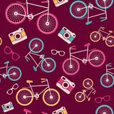 Wektorowy bezszwowy wzór z rocznika bicyklem - 58196686