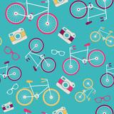Wektorowy bezszwowy wzór z rocznika bicyklem - 58196687