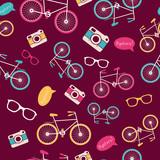 Wektorowy bezszwowy wzór z rocznika bicyklem - 58196689