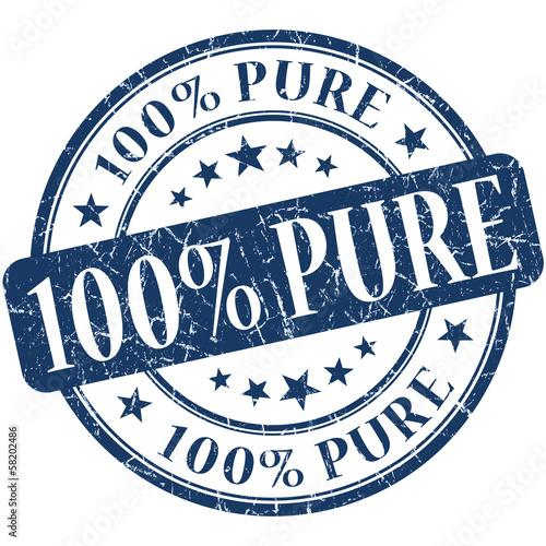 Fotografía  100% Pure grunge blue round vintage stamp