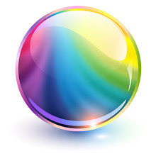 3D Glass Sphere, Rainbow Colors