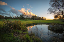 Golf Course In The Evening With Pond