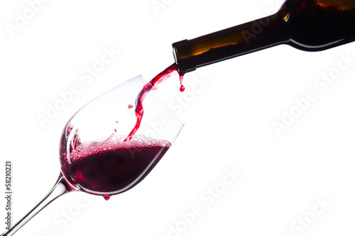 Photo  Red wine on white background
