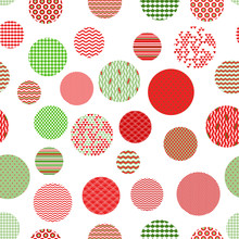 Red Green White Patterned Circ...
