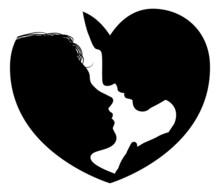 Couple Faces Heart Silhouette