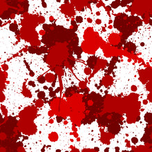 Seamless Red Bloody Ink Color Splats Pattern