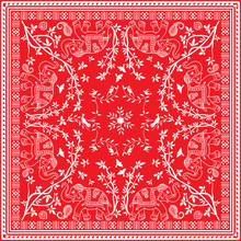 Red And White Elephant Asian Square Scarf Or Bandana