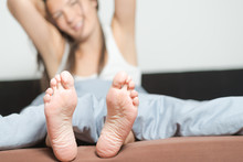 Close Up Of The Soles Of Female Feet