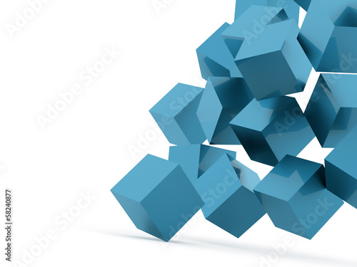 Blue cubes concept rendered on white