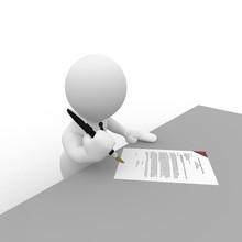 Ein Geschäftsmann Unterzeichnet Einen Vertrag
