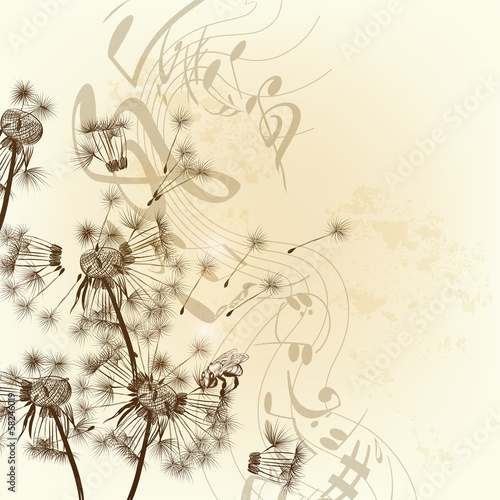 Vector floral background with dandelions and notes
