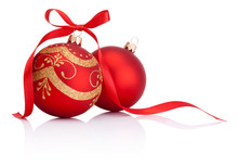 Two Red Christmas Decoration B...
