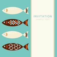 Vintage Set Of Fish, Invitation Card, Vector Illustration