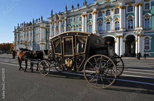 Fotomural Carrozza davanti al Palazzo d'inverno Ermitage
