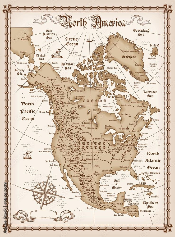Amerika Gradovi Karta.Fotografija Poster Vintage Map Of North America Europosteri Hr