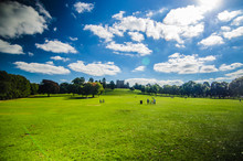 Wollaton Hall Nottingham Green Grass And Beautiful Blue Sky