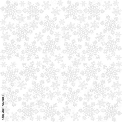 Fototapeta jasne koronkowe płatki śniegu zimowy deseń na białym tle obraz