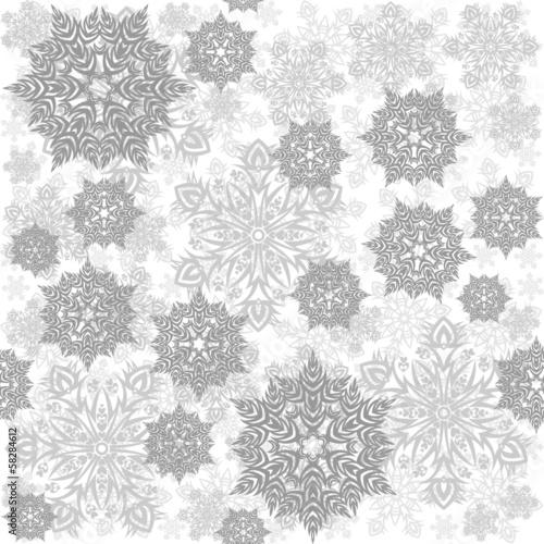 Fototapeta szare koronkowe płatki śniegu zimowy deseń na jasnym tle obraz