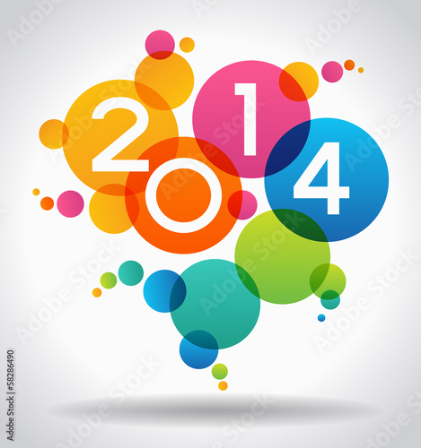 Fotografia  Vector 2014 Happy New Year background.