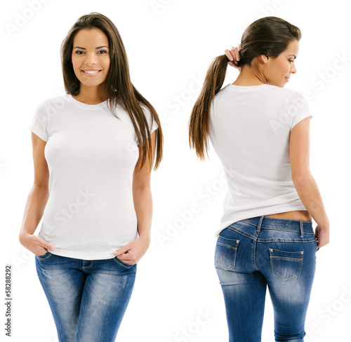 Obraz Sexy woman posing with blank white shirt - fototapety do salonu