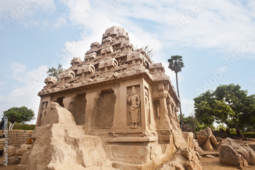 Fotografie, Obraz  Ancient Pancha Rathas temple at Mahabalipuram, Kanchipuram District, Tamil Nadu,