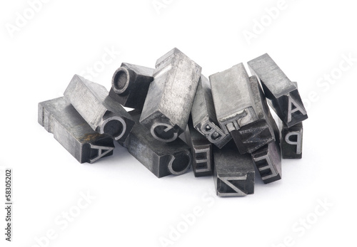 Fotografie, Tablou Metal letterpress printing blocks with clipping path