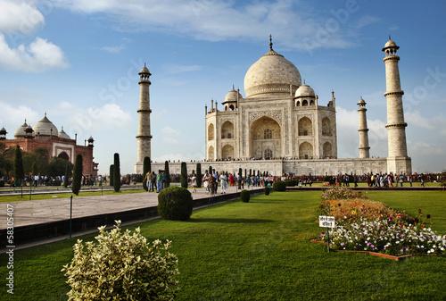 Tourists at a mausoleum, Taj Mahal, Agra, Uttar Pradesh, India Poster