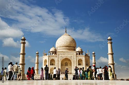Fotografie, Obraz  Tourists at a mausoleum, Taj Mahal, Agra, Uttar Pradesh, India