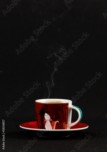 Spoed Foto op Canvas koffiebar Сoffe cup with steam