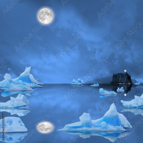 Deurstickers Poolcirkel Icebergs floating in the midnight sea.