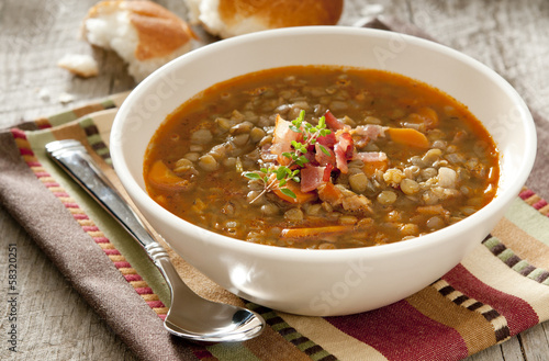 Fotografie, Obraz  bowl of lentil soup