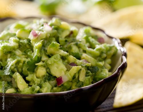Fotografie, Obraz  Closeup of a bowl of fresh guacamole.