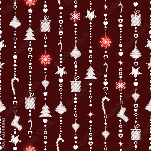 Foto auf AluDibond Boho-Stil Christmas seamless pattern on maroon background with garlands