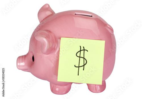Fotografie, Obraz  Dollar sign adhesive note stuck on a piggy bank