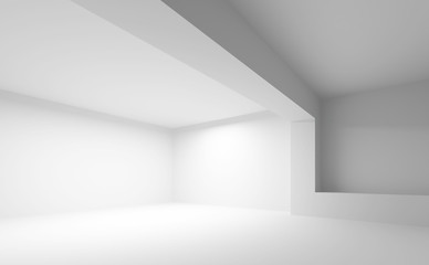 Abstract white architecture background. Empty 3d interior