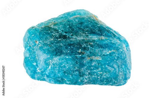 Apatite gemstone. Blue rough and uncut crystal