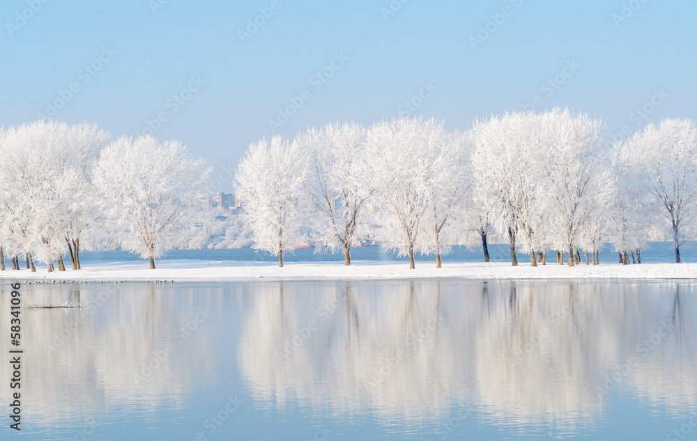 Fototapeta winter landscape with beautiful reflection in the water