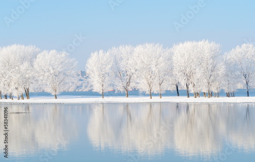 Obraz winter landscape with beautiful reflection in the water - fototapety do salonu